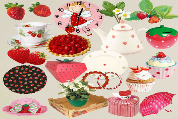 Print on Demand: Strawberry Clip Art Graphic Illustrations By retrowalldecor - Image 1