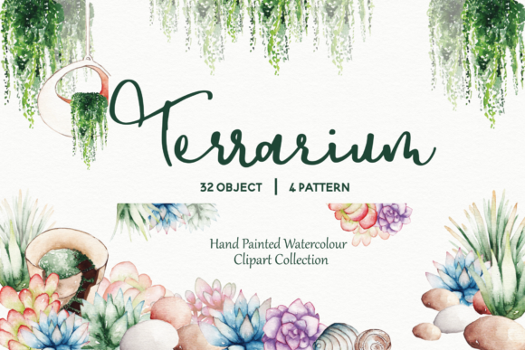 Print on Demand: Succulent Terrarium Watercolor Graphic Illustrations By Typia Nesia