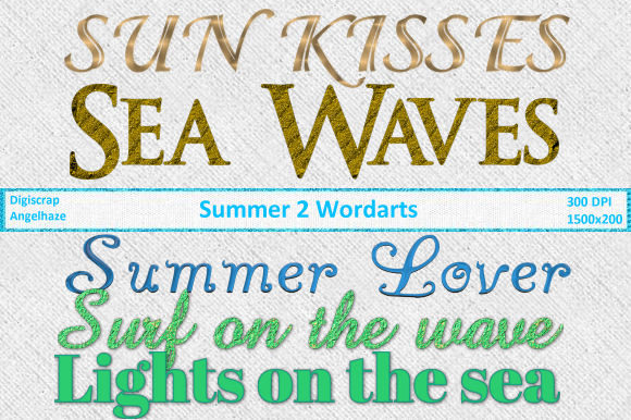 Print on Demand: Summer 2 Wordarts Grafik Web-Elemente von Digiscrap Angelhaze
