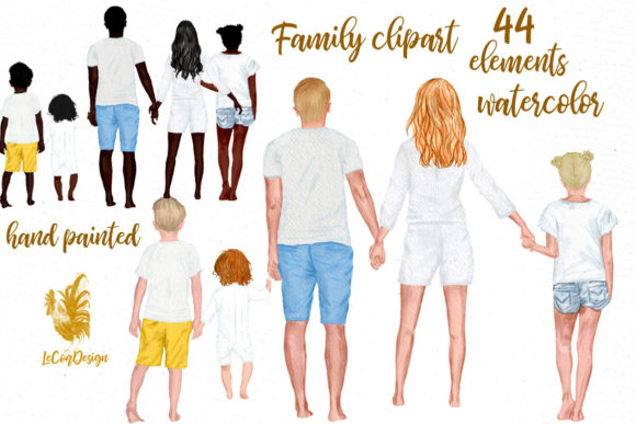 Summer Family Clipart Family Figures Graphic Illustrations By LeCoqDesign