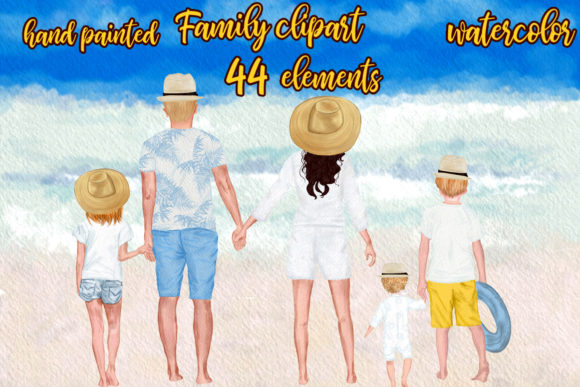 Summer Family Clipart Family Figures Grafik Illustrationen von LeCoqDesign