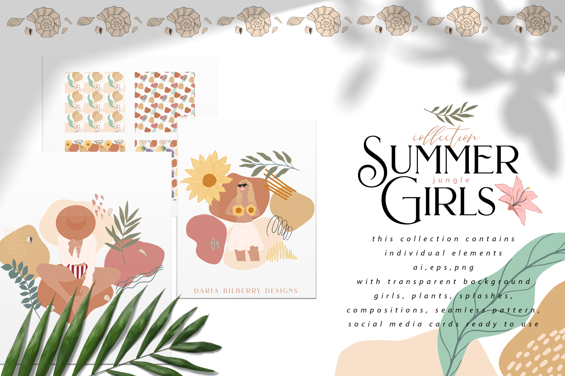 Download Free Summer Jungle Girls Graphic By Bilberrycreate Creative Fabrica for Cricut Explore, Silhouette and other cutting machines.
