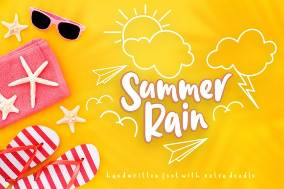 Print on Demand: Summer Rain Script & Handwritten Font By Rifki (7ntypes)