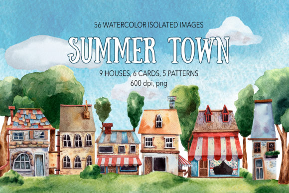 Summer Town - Watercolor Clip Art Set Graphic Illustrations By mashamashastu