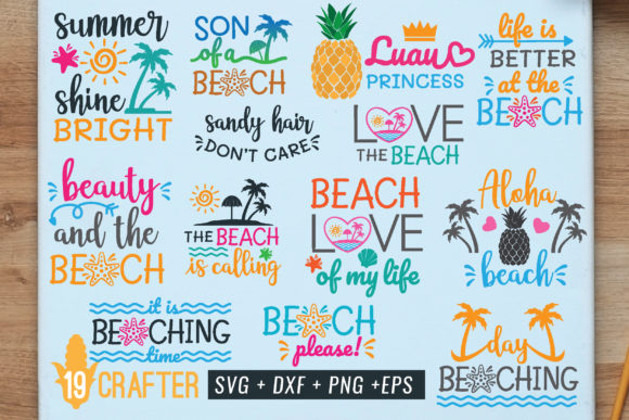 Print on Demand: Summer in the Beach Bundle Grafik Plotterdateien von great19