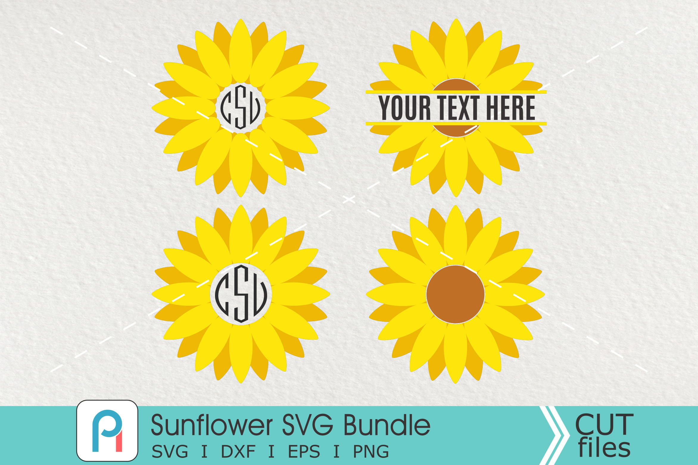 Download Free Sunflower Monogram Graphic By Pinoyartkreatib Creative Fabrica for Cricut Explore, Silhouette and other cutting machines.