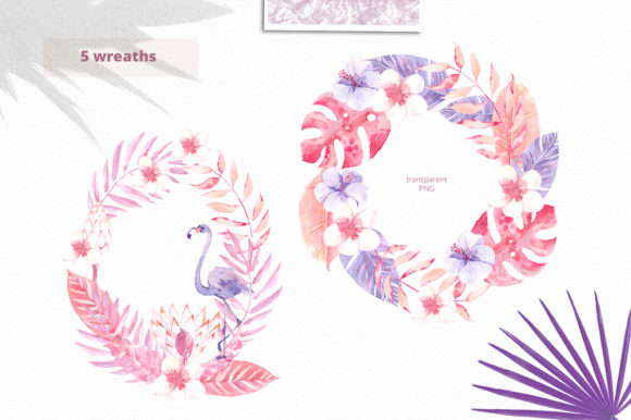 Print on Demand: Sunset in the Tropics Clipart Set Graphic Illustrations By dinkoobraz - Image 12
