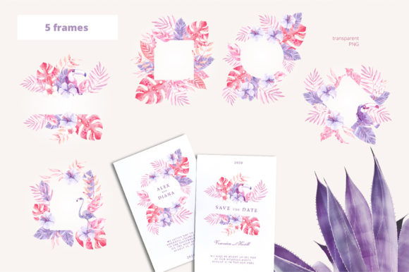 Print on Demand: Sunset in the Tropics Clipart Set Graphic Illustrations By dinkoobraz - Image 15