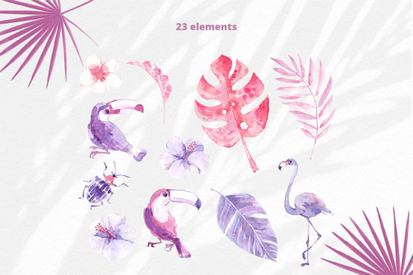 Print on Demand: Sunset in the Tropics Clipart Set Graphic Illustrations By dinkoobraz - Image 18