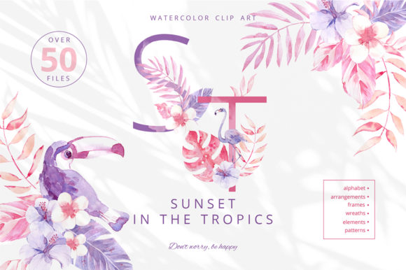 Print on Demand: Sunset in the Tropics Clipart Set Graphic Illustrations By dinkoobraz - Image 1