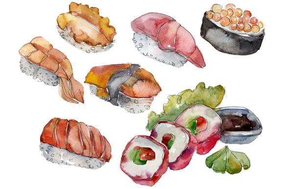 Download Free Sushi Set Philadelphia Watercolor Graphic By Mystocks Creative for Cricut Explore, Silhouette and other cutting machines.