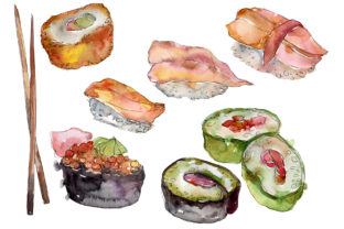 Download Free Sushi Set Watercolor Graphic By Mystocks Creative Fabrica for Cricut Explore, Silhouette and other cutting machines.