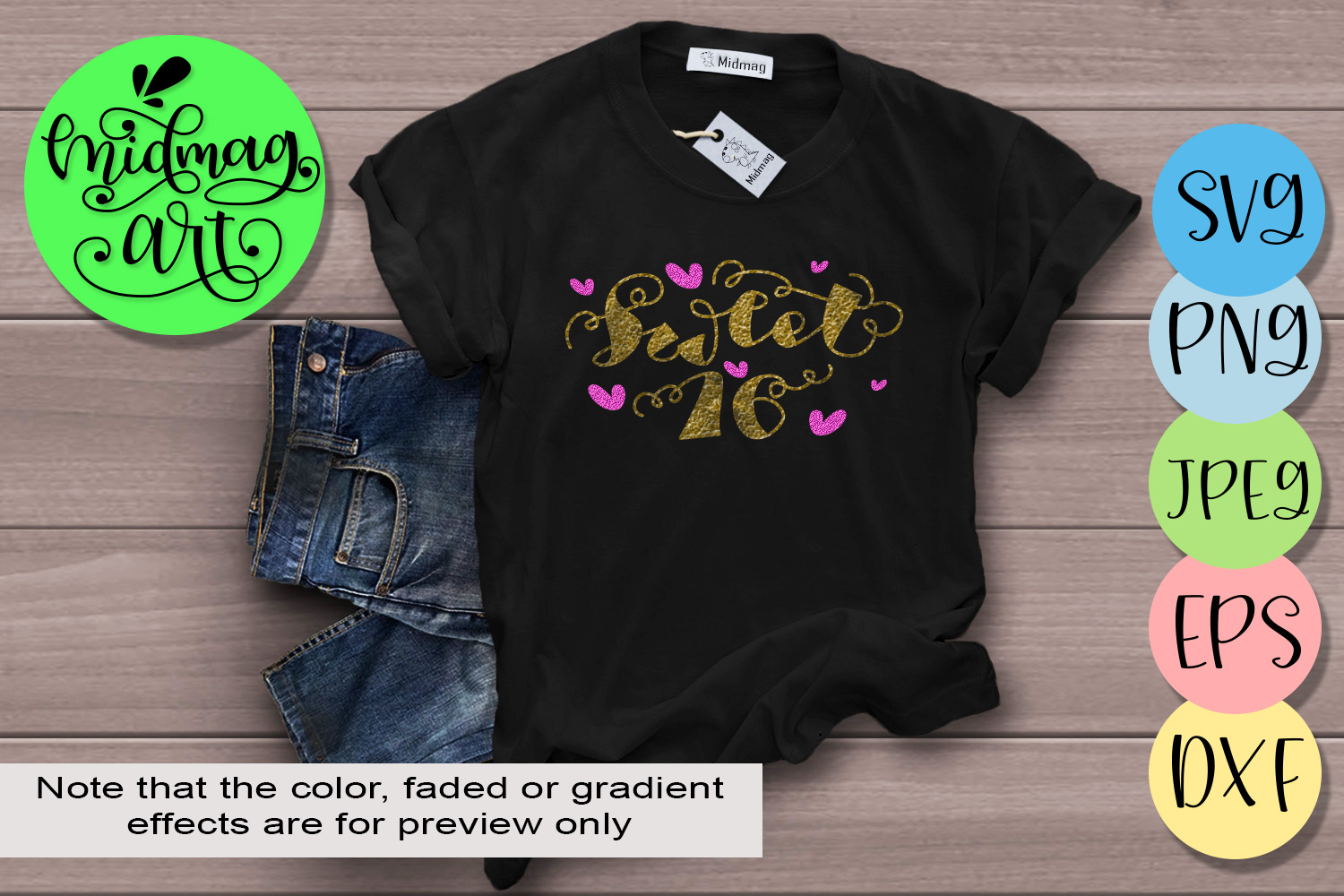 Download Free Sweet 16 Graphic By Midmagart Creative Fabrica for Cricut Explore, Silhouette and other cutting machines.