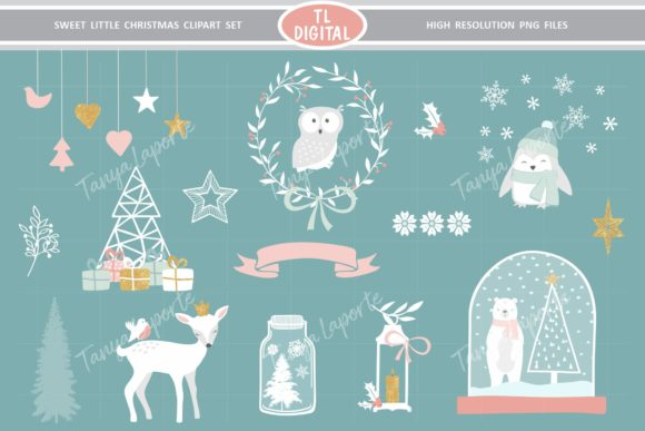Sweet Little Christmas Clipart Set Graphic Illustrations By TL Digital