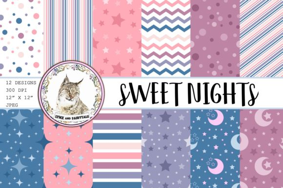 Sweet Nights Digital Seamless Patterns Graphic Patterns By Lynx and Fairytale