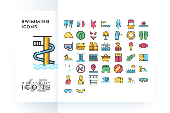 Print on Demand: Swimming Icons Graphic Icons By Goodware.Std
