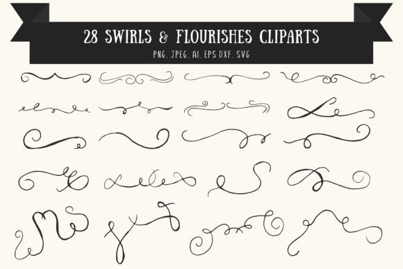 Swirls & Flourishes Cliparts Ver. 1 Graphic By Creative Tacos