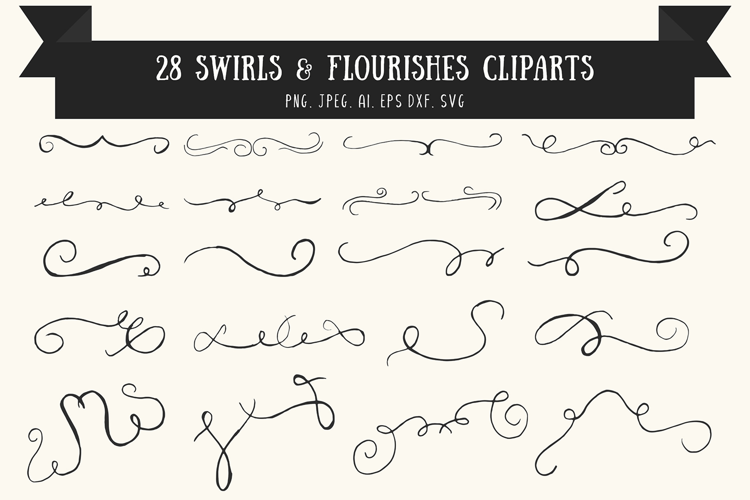 Download Free Swirls Flourishes Cliparts Ver 1 Graphic By Creative Tacos for Cricut Explore, Silhouette and other cutting machines.