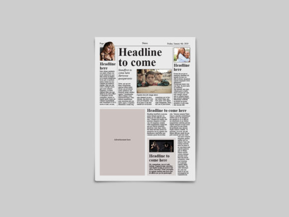 Download Free Tabloid Newspaper Template Graphic By Denestudios Creative Fabrica for Cricut Explore, Silhouette and other cutting machines.