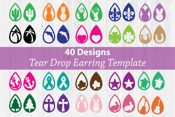 Download Free Tear Drop Earring Bundle Svg Graphic By Cutperfectstudio for Cricut Explore, Silhouette and other cutting machines.