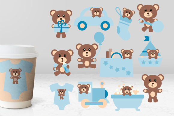 Print on Demand: Teddy Bear Blue Graphic Illustrations By Revidevi
