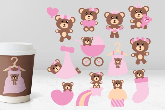 Print on Demand: Teddy Bear Pink Graphic Illustrations By Revidevi - Image 1