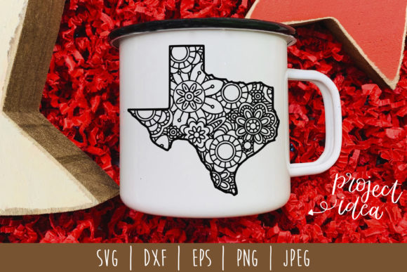 Texas State Mandala Zentangle Graphic Crafts By SavoringSurprises