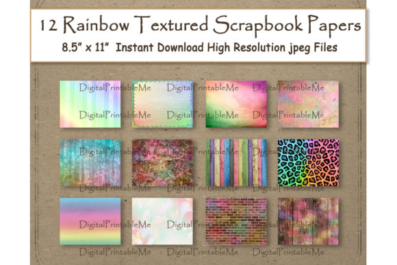 Textured Rainbow Digital Paper 11 Graphic Backgrounds By DigitalPrintableMe - Image 1