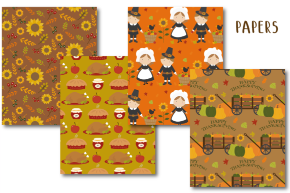 Print on Demand: Thanksgiving Paper Graphic Patterns By poppymoondesign - Image 2