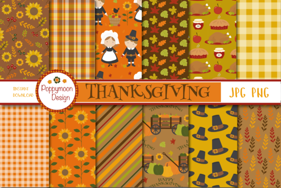 Print on Demand: Thanksgiving Paper Graphic Patterns By poppymoondesign - Image 1