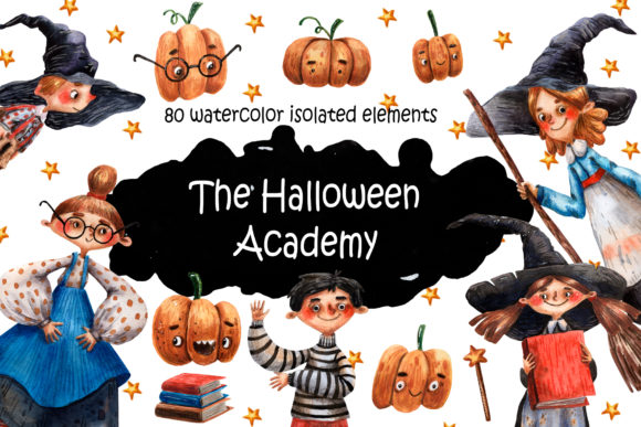 The Halloween Academy - Watercolor Set Graphic Illustrations By mashamashastu