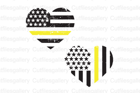 Thin Yellow Line Distressed SVG Graphic Crafts By cutfilesgallery