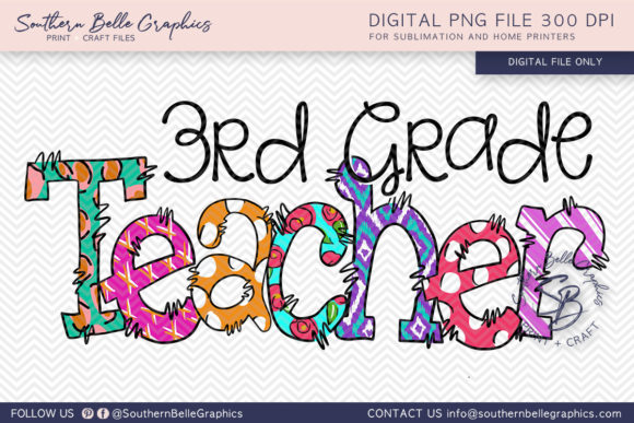 Third Grade Teacher Graphic Crafts By Southern Belle Graphics