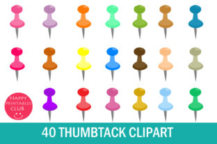 Thumbtack Clipart- Push Pin Clipart Graphic By Happy Printables Club