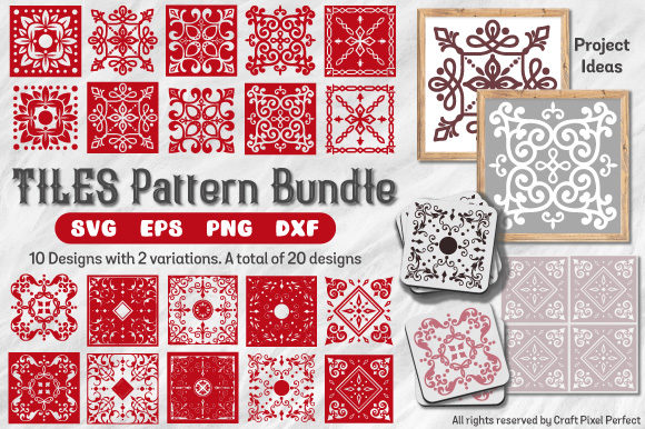 Download Free Tile Patterns Bundle Graphic By Craft Pixel Perfect Creative for Cricut Explore, Silhouette and other cutting machines.