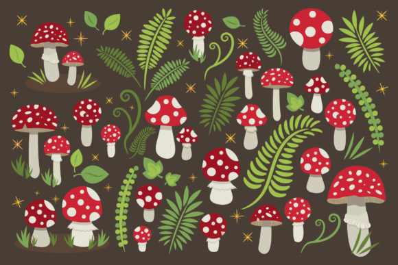 Print on Demand: Toadstool Mushroom Clip Art Set Graphic Objects By Running With Foxes - Image 2