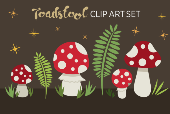 Print on Demand: Toadstool Mushroom Clip Art Set Graphic Objects By Running With Foxes - Image 3