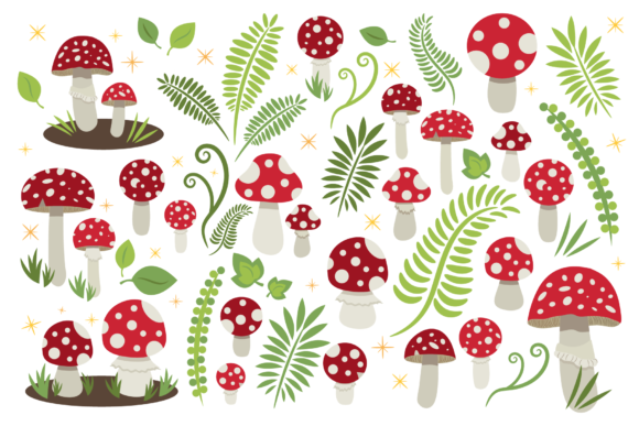 Print on Demand: Toadstool Mushroom Clip Art Set Gráfico Objetos Por Running With Foxes