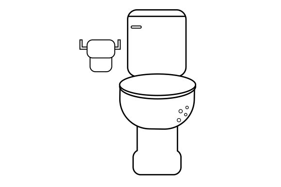 Toilet with Toilet Paper Scene Line Art Style Bathroom Craft Cut File By Creative Fabrica Crafts