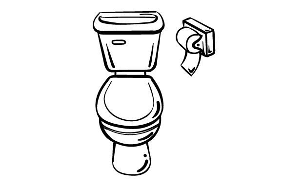 Download Free Toilet With Toilet Paper Scene In Line Art Style Svg Cut File By for Cricut Explore, Silhouette and other cutting machines.
