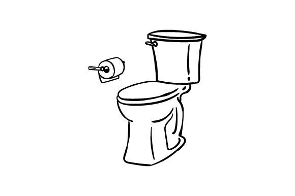 Download Free Toilet With Toilet Paper Scene Line Art Svg Cut File By Creative SVG Cut Files