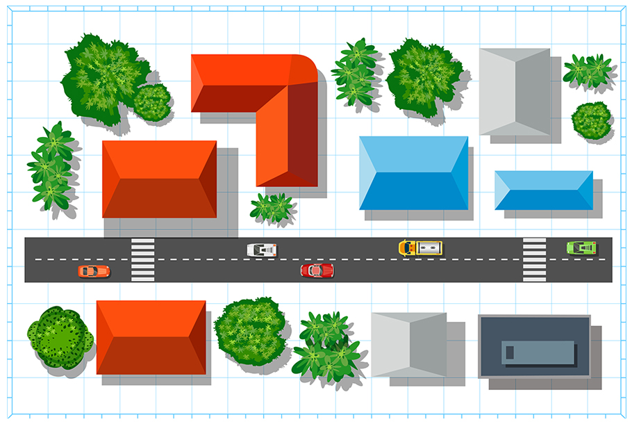 Download Free Top View Of The City Graphic By Alexzel Creative Fabrica for Cricut Explore, Silhouette and other cutting machines.