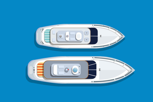 Print on Demand: Top View Pleasure Boat Graphic Objects By AlexZel