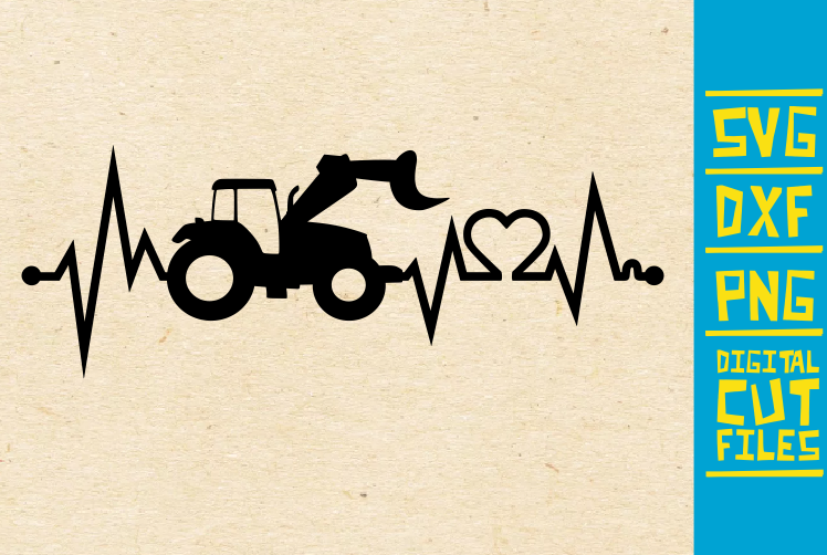 Download Free Tractor Heart Beat Digger Farm Graphic By Svgyeahyouknowme for Cricut Explore, Silhouette and other cutting machines.