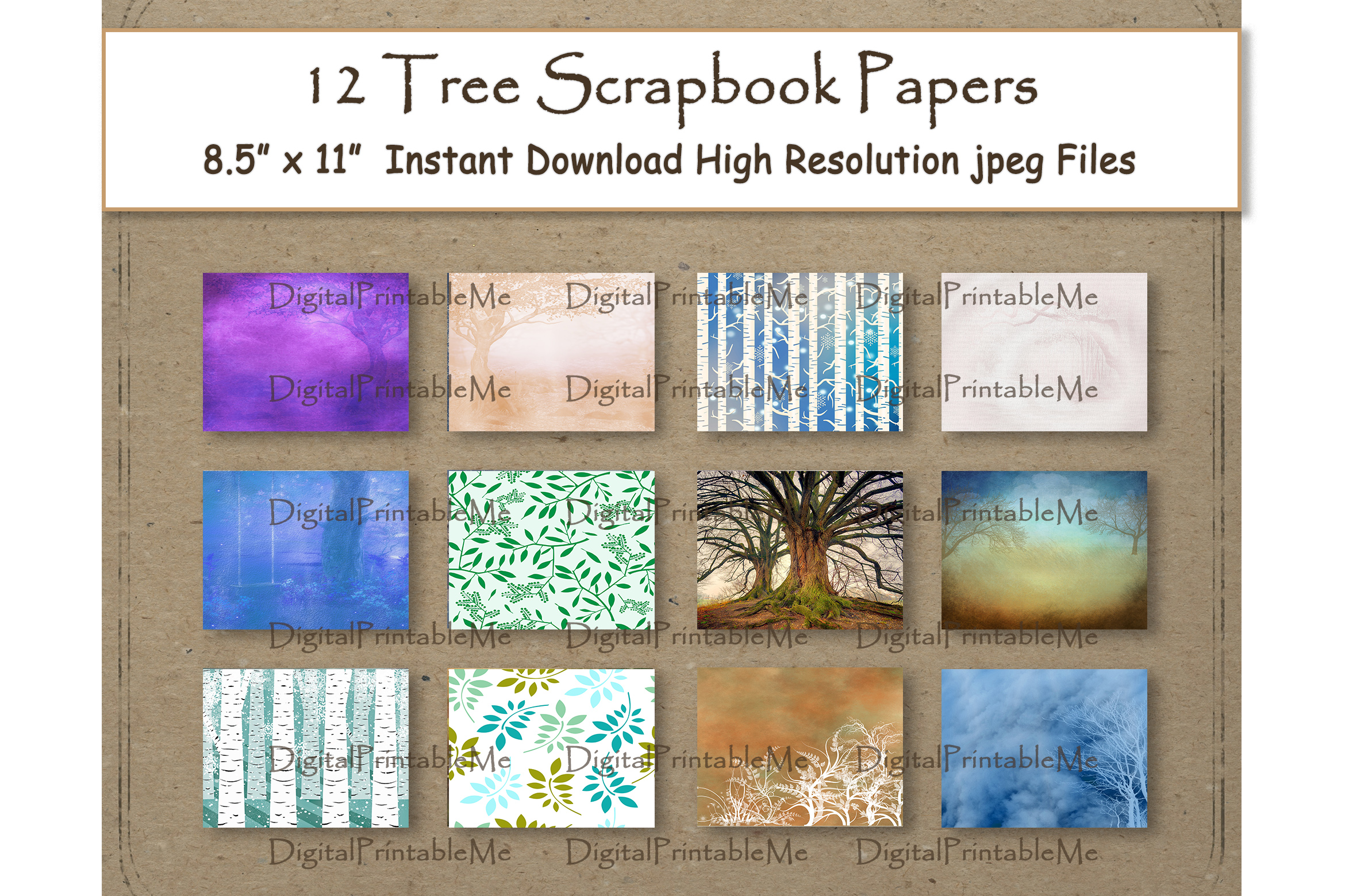 Download Free Tree Digital Paper 8 5 Graphic By Digitalprintableme Creative for Cricut Explore, Silhouette and other cutting machines.