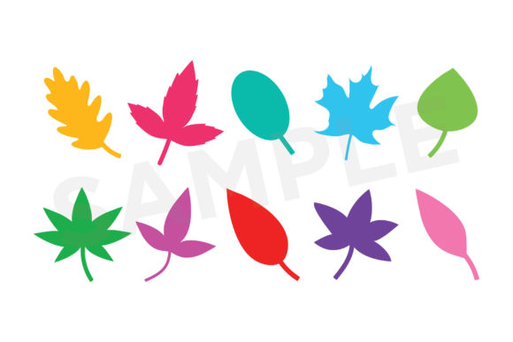 Print on Demand: Tree Leaves Silhouette Clip Art Set Graphic Objects By Running With Foxes - Image 4