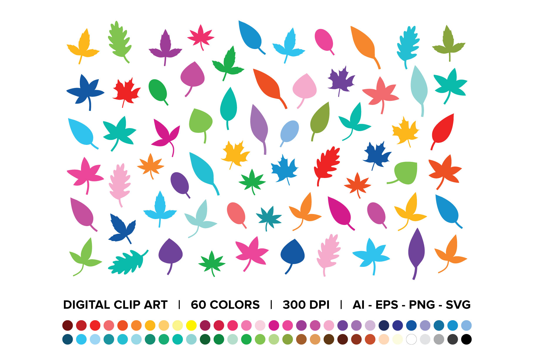 Download Free Tree Leaves Silhouette Clip Art Set Graphic By Running With for Cricut Explore, Silhouette and other cutting machines.