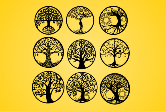 Print on Demand: Tree,Life of Tree,Vector,Silhouette Graphic Graphic Templates By johanruartist