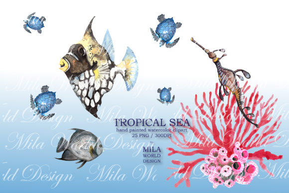 Tropical Sea Watercolor Clip Art Graphic Illustrations By MilaWorldDesing - Image 4