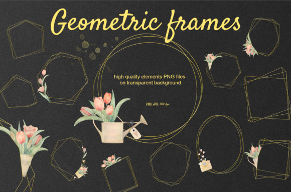 Print on Demand: Tulip Geomrtric Golden Frames Graphic Objects By Natalia Arkusha